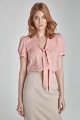 Stylowa Różowa Bluzka z Kokardą pod Szyją