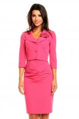Różowy Elegancki Komplet Sukienka+ Krótki Żakiet