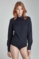 Stylowa Czarna Koszula-Body z Długim Rękawem