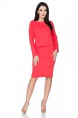 Czerwona Klasyczna Uniwersalna Bluza z Dzianiny