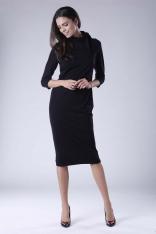 Czarna Prosta Midi Sukienka z Wiązaniem na Dekolcie