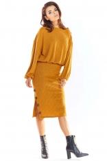 Kamelowy Nowoczesny Oversizowy Sweter z Guzikami