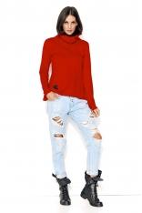 Czerwona Oversizowa Bluza z Obszernym Golfem