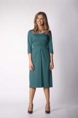 Zielona Dzianinowa Sukienka z Elementami Drapowania