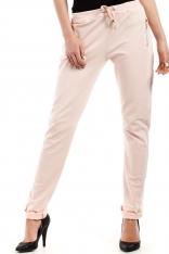 Brzoskwiniowe Spodnie z Elastyczną Talią