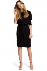 Czarna Sukienka z Wiązanym Paskiem w Sportowym Stylu