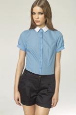 Koszula z Krótkim Rękawem w Różnorodne Paski - Niebieski