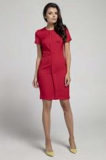 Czerwona Stylowa Dopasowana Sukienka z Pionową Plisą na Przodzie