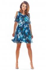Granatowa Zwiewna Letnia Sukienka w Kwiaty z Rozciętym Rękawem