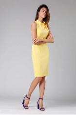 Żółta Ołówkowa Sukienka z Kokardą