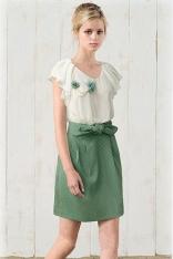 Szykowna Łączona Biało-Zielona Sukienka z Kokardą