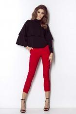 Czerwone Spodnie Cygaretki z Rozporkiem na Dole Nogawki