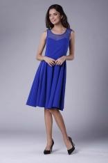 Chabrowa Rozkloszowana Sukienka Midi z Prześwitującym Karczkiem