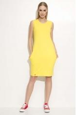 Żółta Sukienka Dresowa Midi bez Rękawów z Kieszeniami