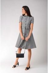 Sukienka Szmizjerka w Kratkę z Szerokim Dołem
