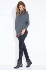 Grafitowe Poncho-Sweter z Golfem z Guzikami