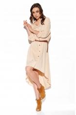 Asymetryczna Sukienka Koszulowa - Beżowa