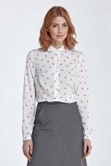 Bluzka Koszulowa z Okrągłym Kołnierzykiem - Liście