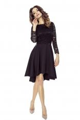 Czarna Sukienka Rozkloszowana Asymetryczna z Koronkową Górą