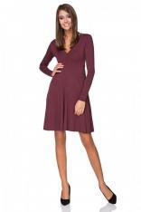 Bordowa Sukienka Rozkloszowana Mini z Dekoltem w Szpic