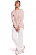 Uniwersalny Sweter z Warkoczowym Splotem - Pudrowy