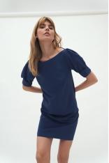 Krótka Sukienka z Bufkami - Kobaltowa