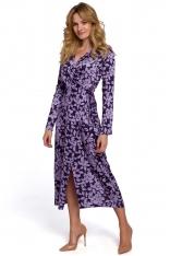 Kopertowa Sukienka w Kwiaty Wiązana na Boku - Model 2