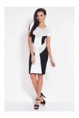 Czarna Sukienka Dzianinowa w Geometryczne Wzory z Krótkim Rękawem