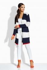 Ecru Granatowy Długi Sweter w Pasy bez Zapięcia