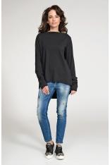 Czarna Nierozpinana Asymetryczna Bluza z Drapowanym Rękawem