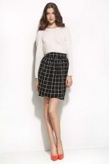 Czarna&kratka Mini Spódnica w Stylu Casual