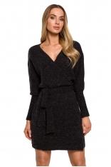 Swetrowa Mini Sukienka z Kopertowym Dekoltem - Antracytowa