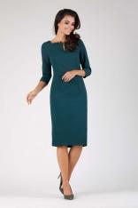 Zielona Elegancka Dopasowana Sukienka ze Spinką przy Dekolcie