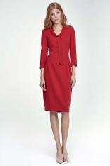 Czerwona Sukienka Elegancka z Wiązaniem przy Dekolcie