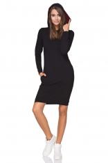 Czarna Sukienka Dresowa z Kolorowym Kapturem