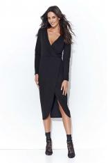 Czarna Asymetryczna Dzianinowa Midi Sukienka z Kopertowym Dekoltem