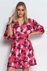 Sukienka w Kwiaty z Bufiastym Rękawem  - Wzór 24