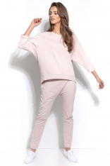 Pudrowe Dresowe Spodnie z Prostymi Nogawkami