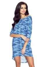 Niebieska Sukienka z Dłuższym Tyłem - Moro