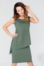 Zielona Asymetryczna Tunika - Bluzka z Biżuteryjną Wstawką