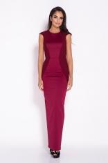 Bordowa Elegancka Długa Sukienka z Wycięciem na Plecach