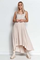 Długa Asymetryczna Sukienka na Ramiączkach - Beżowa