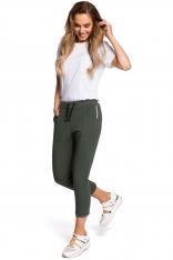 Zielone Dresowe Spodnie 7/8 z Lampasem