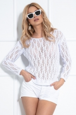 Klasyczny Sweter z Ażurowym Wzorem - Biały