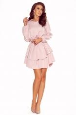 Różowa Wizytowa Sukienka z Bufiastym Rękawem