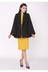 Czarny Elegancki Dwurzędowy Płaszcz z Rozkloszowanym Rękawem
