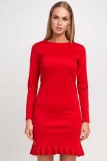 Czerwona Szykowna Sukienka z Układaną Falbanką na Dole