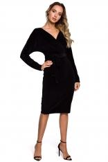 Czarna Welurowa Sukienka z Zakładanym Dekoltem