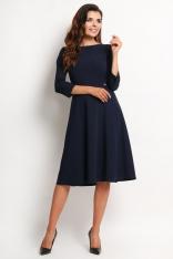 62d4d72e67 Granatowa Elegancka Rozkloszowana Sukienka Midi z Rękawem 3 4