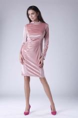 Różowa Dopasowana Sukienka Welurowa z Półgolfem